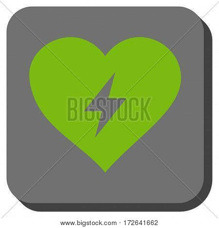 Heart Power rounded button. Vector pictograph style is a flat symbol in a rounded square button light green and gray colors.