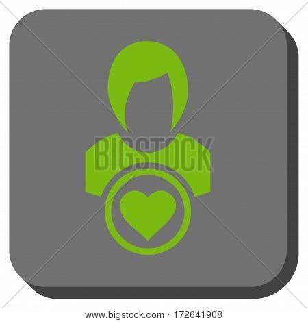 Lady Love square icon. Vector pictograph style is a flat symbol centered in a rounded square button light green and gray colors.