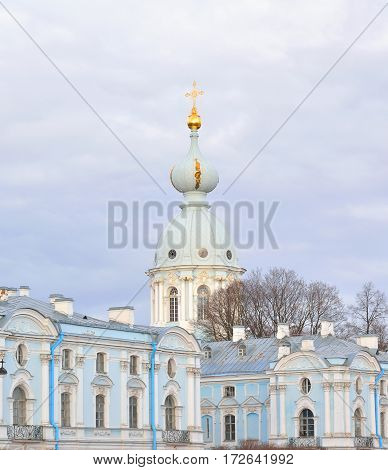 Smolny Monastery at cloud day in St.Petersburg Russia.
