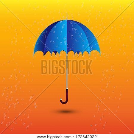 open blue umbrella under rain drop spring