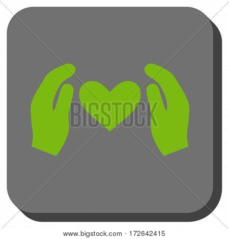 Love Care Hands square icon. Vector pictograph style is a flat symbol on a rounded square button light green and gray colors.