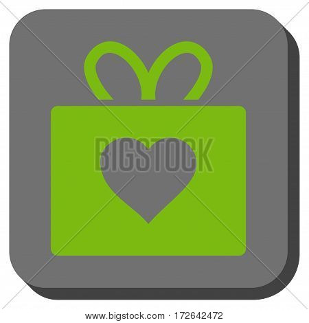 Love Gift toolbar icon. Vector pictogram style is a flat symbol in a rounded square button light green and gray colors.