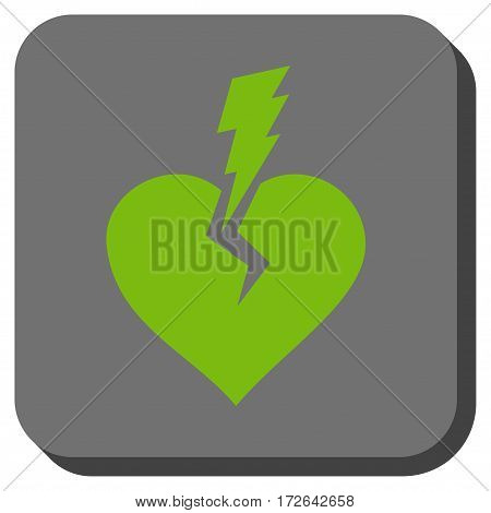 Love Heart Crash interface icon. Vector pictogram style is a flat symbol centered in a rounded square button light green and gray colors.