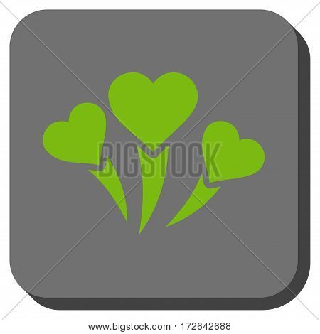 Love Heart Fireworks interface toolbar icon. Vector pictograph style is a flat symbol inside a rounded square button light green and gray colors.