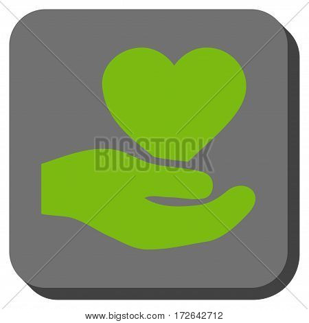 Love Heart Offer Hand square button. Vector pictogram style is a flat symbol in a rounded square button light green and gray colors.