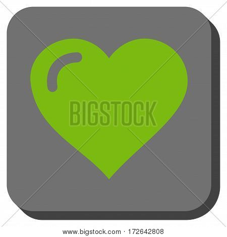 Love Heart interface toolbar button. Vector pictograph style is a flat symbol on a rounded square button light green and gray colors.