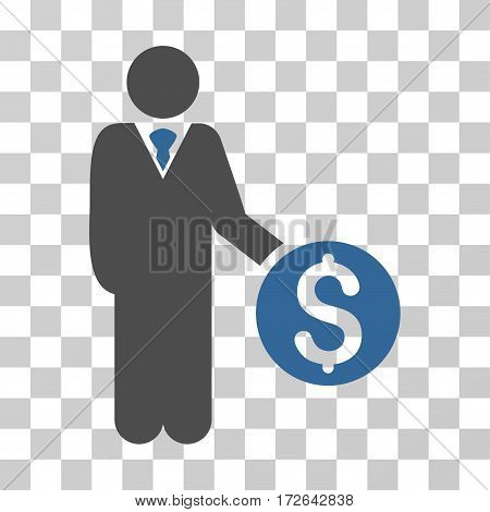Banker icon. Vector illustration style is flat iconic bicolor symbol cobalt and gray colors transparent background. Designed for web and software interfaces.