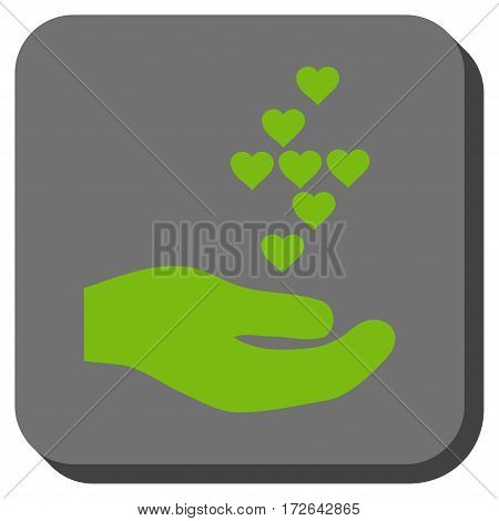 Love Hearts Offer Hand toolbar button. Vector pictogram style is a flat symbol inside a rounded square button light green and gray colors.