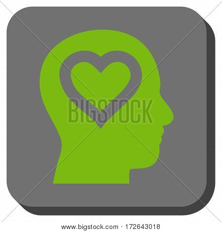 Love In Head rounded button. Vector pictogram style is a flat symbol centered in a rounded square button light green and gray colors.
