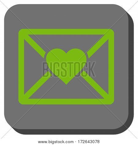 Love Letter interface toolbar icon. Vector pictogram style is a flat symbol in a rounded square button light green and gray colors.