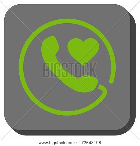 Love Phone interface button. Vector pictogram style is a flat symbol on a rounded square button light green and gray colors.