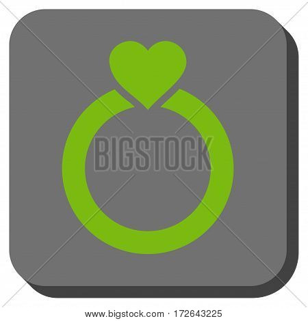 Love Ring toolbar button. Vector pictogram style is a flat symbol inside a rounded square button light green and gray colors.