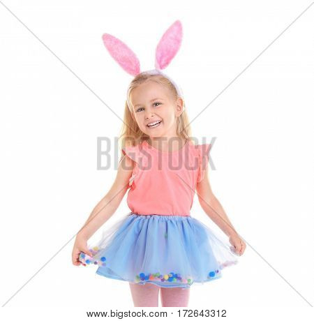 Cute funny girl with bunny ears on white background