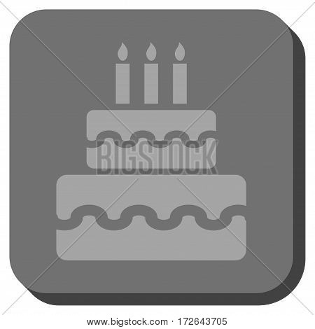 Birthday Cake interface button. Vector pictogram style is a flat symbol in a rounded square button light gray and gray colors.