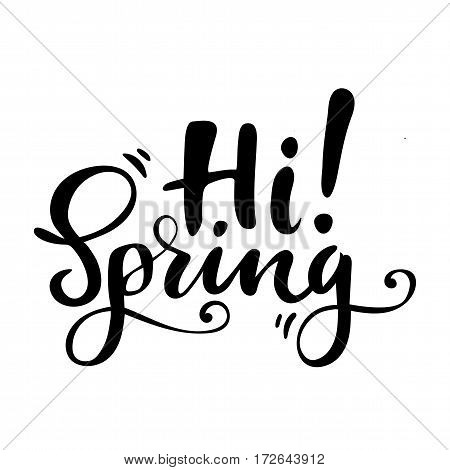 Greeting card with phrase: Hi spring. Vector isolated illustration: brush calligraphy, hand lettering. Inspirational typography poster