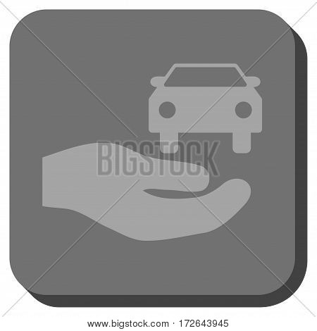 Car Gift Hand toolbar button. Vector pictograph style is a flat symbol centered in a rounded square button light gray and gray colors.