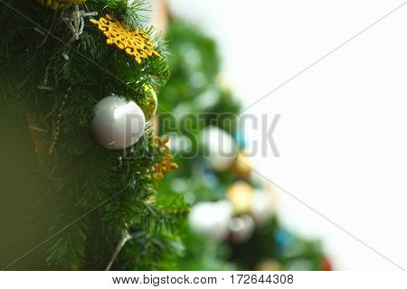 Christmas decor with fir tree branches
