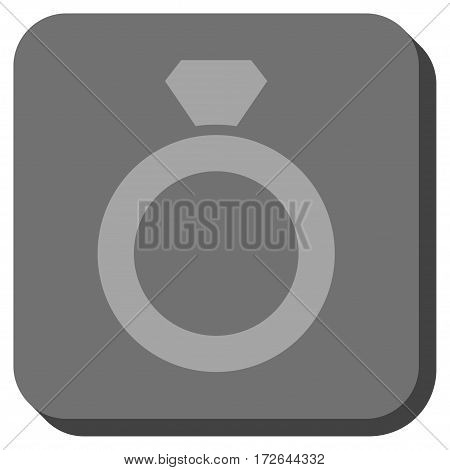 Diamond Ring rounded button. Vector pictograph style is a flat symbol in a rounded square button light gray and gray colors.