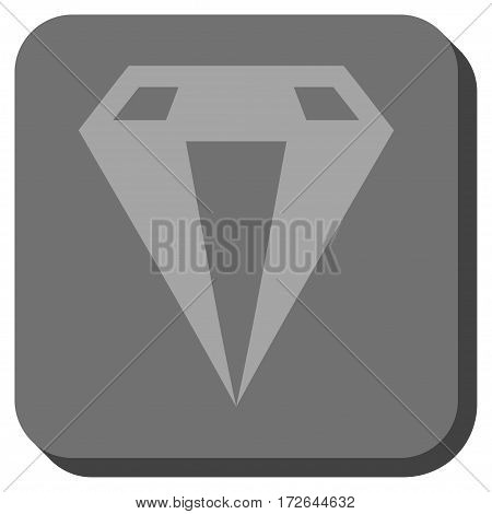 Diamond interface toolbar icon. Vector pictograph style is a flat symbol in a rounded square button light gray and gray colors.