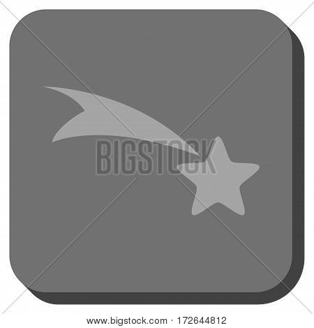 Falling Star interface icon. Vector pictograph style is a flat symbol on a rounded square button light gray and gray colors.