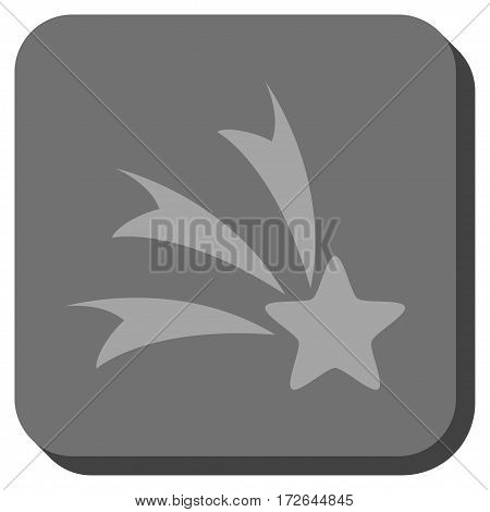 Falling Star interface button. Vector pictogram style is a flat symbol on a rounded square button light gray and gray colors.