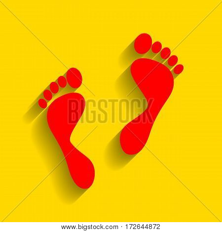 Foot prints sign. Vector. Red icon with soft shadow on golden background.