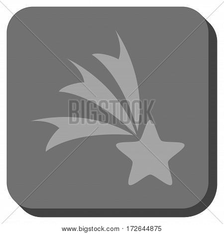 Falling Star interface icon. Vector pictogram style is a flat symbol centered in a rounded square button light gray and gray colors.