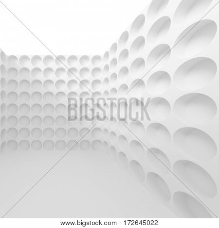 3d Rendering of White Abstract Wall Background. Futuristic Architecture Design. Minimalistic Hall Wallpaper