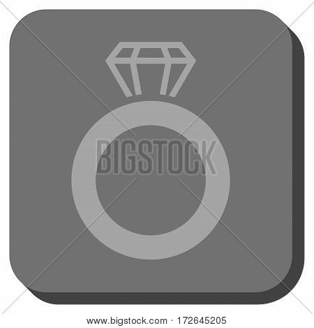 Gem Ring toolbar button. Vector pictograph style is a flat symbol on a rounded square button light gray and gray colors.