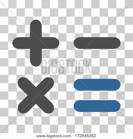 Calculator icon. Vector illustration style is flat iconic bicolor symbol cobalt and gray colors transparent background. Designed for web and software interfaces.