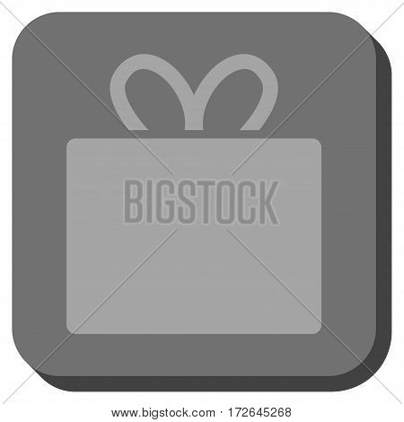 Gift interface toolbar icon. Vector pictograph style is a flat symbol on a rounded square button light gray and gray colors.