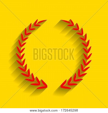 Laurel Wreath sign. Vector. Red icon with soft shadow on golden background.