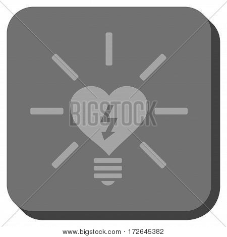 Heart Electric Bulb toolbar icon. Vector pictogram style is a flat symbol inside a rounded square button light gray and gray colors.