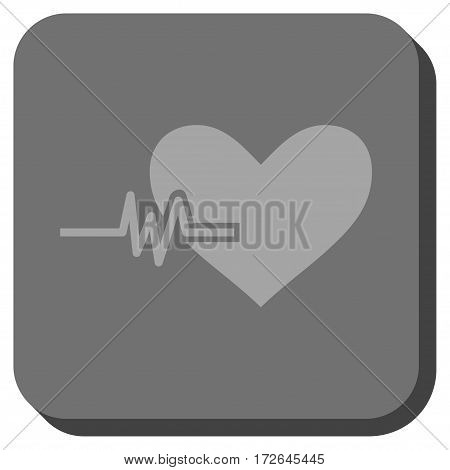 Heart Pulse rounded button. Vector pictogram style is a flat symbol centered in a rounded square button light gray and gray colors.