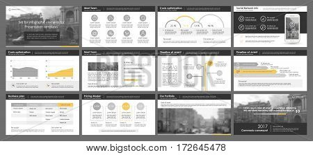 Yellow and black elements for infographics on a white background. Presentation templates. Use in presentation, flyer and leaflet, corporate report, marketing, advertising, annual report, banner.