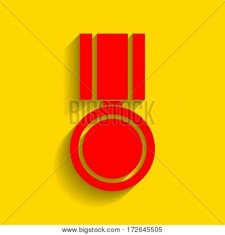 Medal sign illustration. Vector. Red icon with soft shadow on golden background.