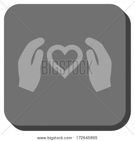 Love Care Hands square button. Vector pictogram style is a flat symbol inside a rounded square button light gray and gray colors.