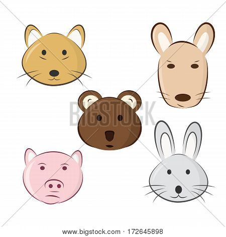 Cute cartoon animals. drawing of animal faces - vector illustration