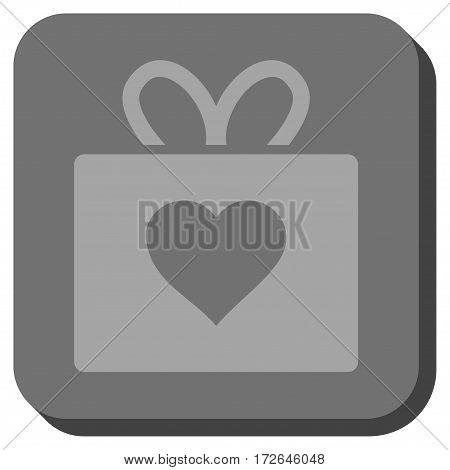 Love Gift toolbar button. Vector pictogram style is a flat symbol on a rounded square button light gray and gray colors.