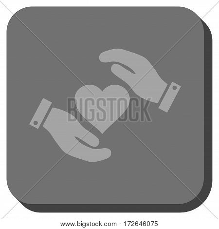 Love Heart Care Hands rounded icon. Vector pictogram style is a flat symbol centered in a rounded square button light gray and gray colors.
