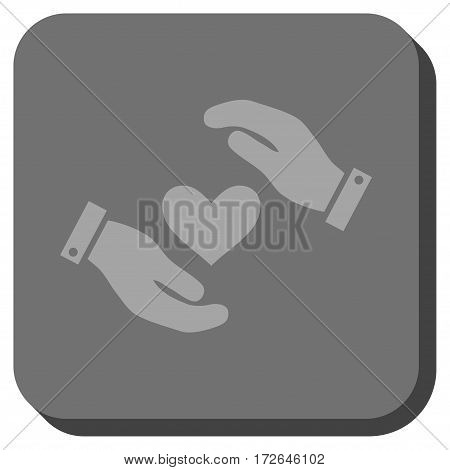 Love Heart Care Hands interface button. Vector pictograph style is a flat symbol centered in a rounded square button light gray and gray colors.