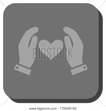 Love Heart Care Hands square icon. Vector pictogram style is a flat symbol on a rounded square button light gray and gray colors.