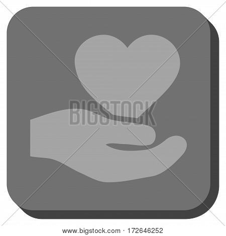 Love Heart Offer Hand rounded icon. Vector pictogram style is a flat symbol in a rounded square button light gray and gray colors.
