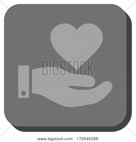 Love Heart Offer Hand interface icon. Vector pictograph style is a flat symbol inside a rounded square button light gray and gray colors.