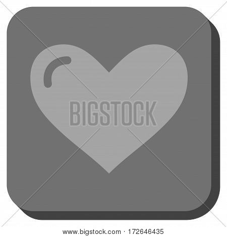 Love Heart toolbar button. Vector pictogram style is a flat symbol in a rounded square button light gray and gray colors.
