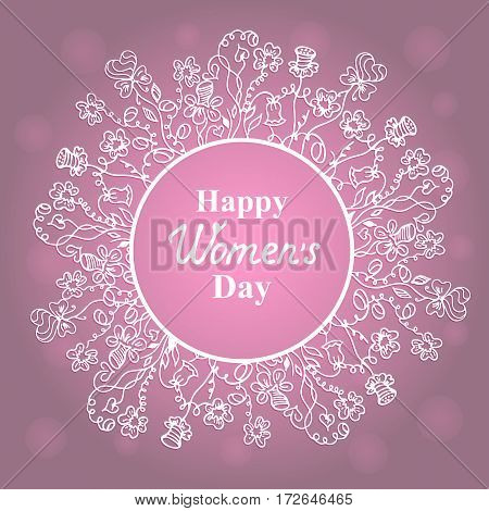 Happy Women's Day. March 8. Concept design for a holiday sale, greeting cards, stickers, invitations.