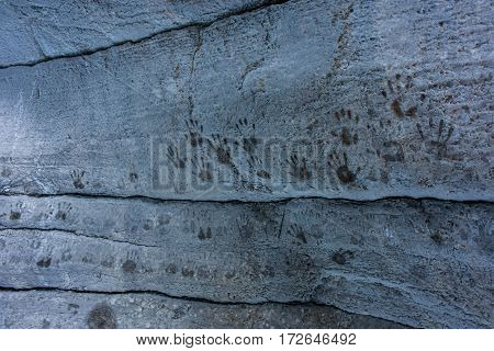 Hand prints on the walls of Maligne Canyon in Jasper National Park, Canada