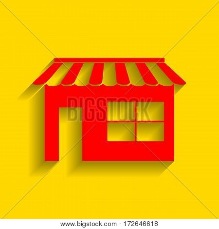 Store sign illustration. Vector. Red icon with soft shadow on golden background.