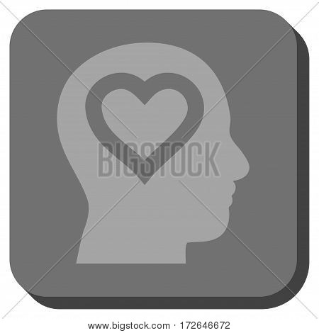 Love In Head toolbar icon. Vector pictograph style is a flat symbol inside a rounded square button light gray and gray colors.