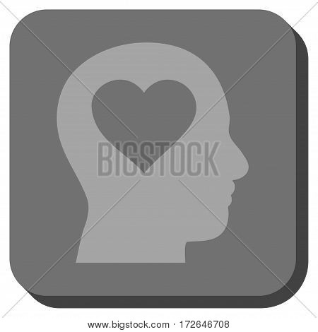 Love In Head toolbar icon. Vector pictogram style is a flat symbol centered in a rounded square button light gray and gray colors.